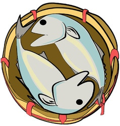Mackerels in a bamboo basket vector
