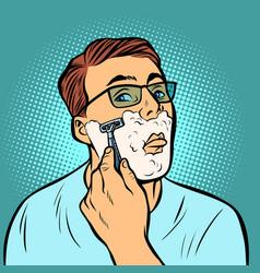 man shaving razors vector image