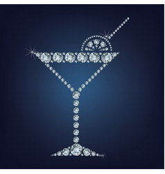 Martini glass icon made a lot of diamonds vector
