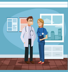 medical team at office vector image