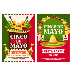 Mexican cinco de mayo holiday party posters vector