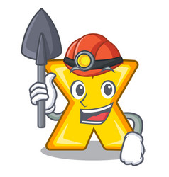 Miner cartoon multiply sign for calculate math vector