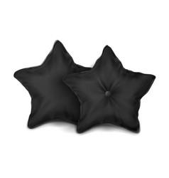 Mock up black set pillow star vector
