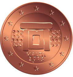 money bronze coin five euro cent vector image