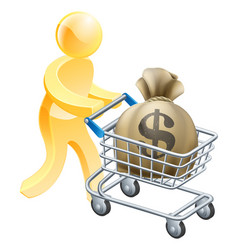 Money shopping cart trolley person vector