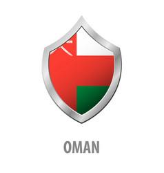 oman flag on metal shiny shield vector image