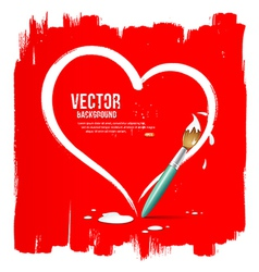 Paint brush heart shape on red background vector