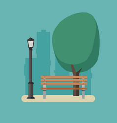 Park with bench and streetlight vector