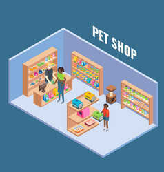 pet shop cutaway interior flat isometric vector image