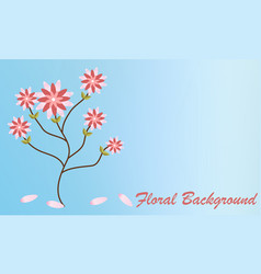 pink flowers swallowtail bouquet on soft blue vector image