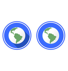planet earth round flat icon vector image