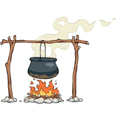 Pot over the fire vector