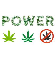 Power caption mosaic of marijuana vector