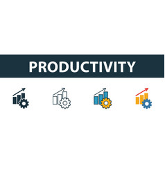 Productivity icon set four elements in diferent vector