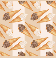 realistic chocolate and vanilla ice cream pattern vector image