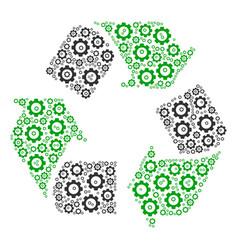 Recycle arrows composition of gear vector