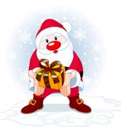 Santa and gift vector image vector image