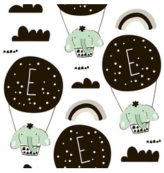 seamless pattern with elephants on hot air vector image