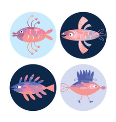set fishes sea creatures vector image