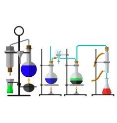 Set laboratory flask chemical vector image