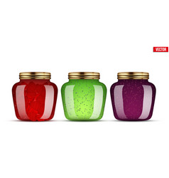 Set of glass jars with jam vector