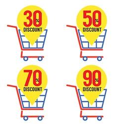 Set Of Shopping Basket Discount vector