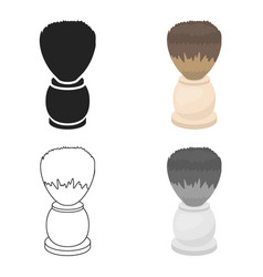 Shaving brush icon in cartoon style isolated on vector