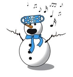 Snowman singing -choir vector