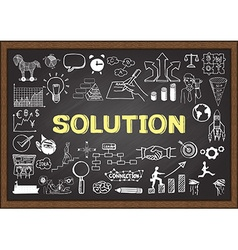 Solution on chalkboard vector image