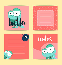 square note cards with lettering and cute vector image vector image