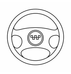 Steering wheel of taxi icon outline style vector image