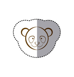 Sticker with brown line contour of face of panda vector