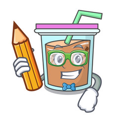 Student bubble tea character cartoon vector