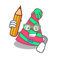 Student party hat character cartoon vector