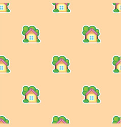 summer house and green trees seamless pattern vector image