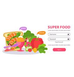 Super food login background vector