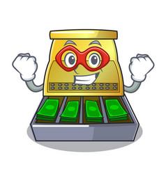 Super hero cartoon vintage cash register front vector