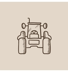 Tractor sketch icon vector image