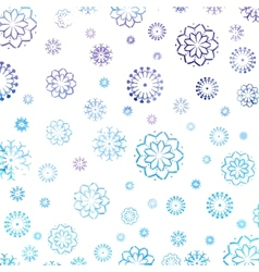 Watercolor background with a snowflakes pattern vector image