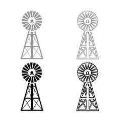 wind turbine windmill classic american icon vector image