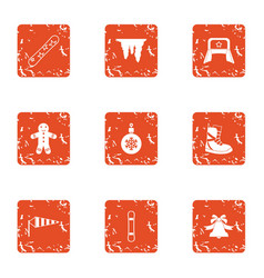 Winter flavour icons set grunge style vector
