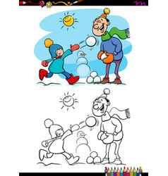winter fun scene coloring book vector image