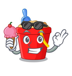 with ice cream beach bucket shape the fun vector image