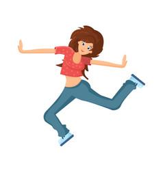 young beautiful dancing girl teenager moves vector image