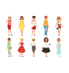 Young women wearing retro clothing set vintage vector