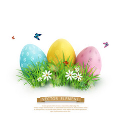 element for design easter eggs in green grass vector image vector image