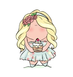 handdrown cute little girl doodle vector image vector image