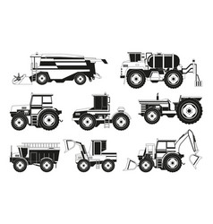 monochrome pictures of agricultural machinery vector image