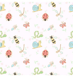 Seamless background with cartoon insects vector image vector image