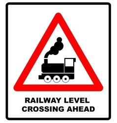 Traffic sign level crossing with barries ahead vector image vector image